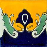 hand decorated talavera tile cobalt yellow