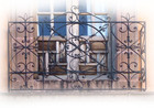 folk art forged iron balcony