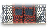 Spanish influence forged iron balcony