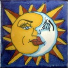 hand painted Mexican tile yellow white