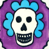 folk art Mexican tile purple blue