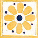 Mediterranean Mexican tile yellow blue white