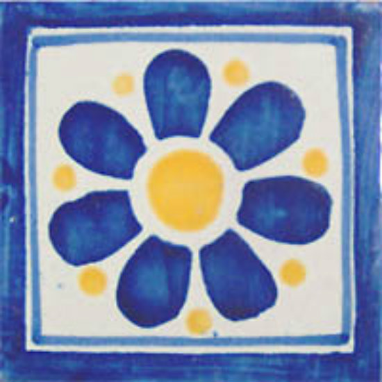 old European Mexican tile blue yellow