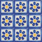 old European Mexican tiles blue yellow