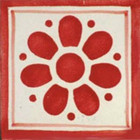 hand made Mexican tile red white
