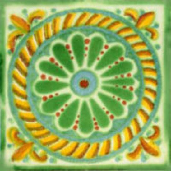 artisan made Mexican tile yellow green