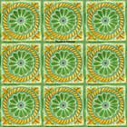 artisan made Mexican tiles yellow green