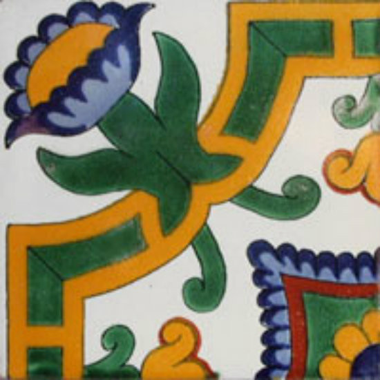 handmade Mexican tile green yellow