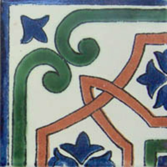 hand decorated Mexican tile terracotta green