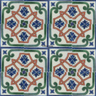 hand decorated Mexican tiles terracotta green