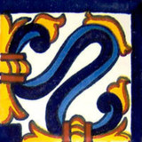 decorative Mexican tile cobalt yellow