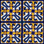 decorative Mexican tiles cobalt yellow
