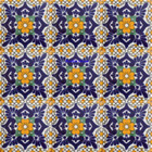 hand painted Mexican tiles cobalt yellow