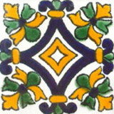 artisan crafted Mexican tile cobalt green
