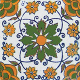 hand made Mexican tile green yellow