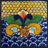 handcrafted Mexican tile yellow cobalt