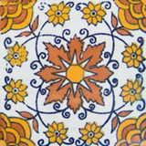 artisan made Mexican tile terracotta yellow