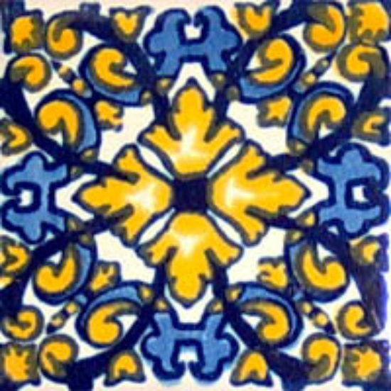 hand decorated Mexican tile blue yellow