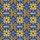 hand decorated Mexican tiles blue yellow