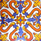 decorative Mexican tile yellow blue white