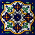 hand painted Mexican tile white green