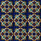 hand painted Mexican tiles white green