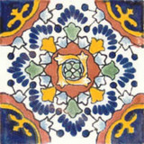 painted Mexican tile blue terracotta