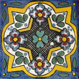 old world Mexican tile white yellow