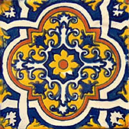 decorative Mexican tile yellow blue