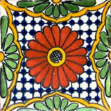 Southern Mexican tile terracotta green white