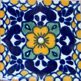 folk art Mexican tile cobalt yellow