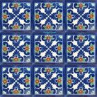 old world Mexican tiles cobalt green