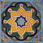 hand decorated Mexican tile green yellow