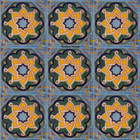 hand decorated Mexican tiles green yellow