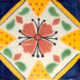 decorative Mexican tile yellow cobalt