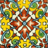 hand painted Mexican tile terracotta yellow