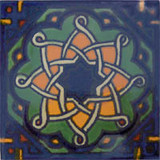 old European Mexican tile green yellow
