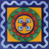 colonial Mexican tile cobalt green