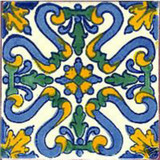 rustic Mexican tile blue green