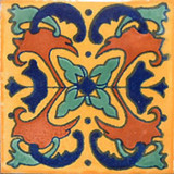 Southern Mexican tile terracotta green