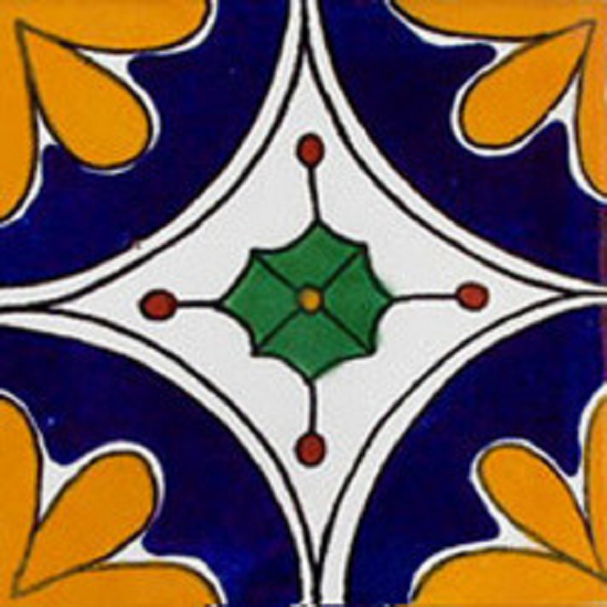 old world Mexican tile cobalt yellow