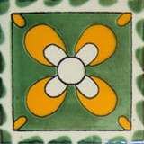 old world Mexican tile green