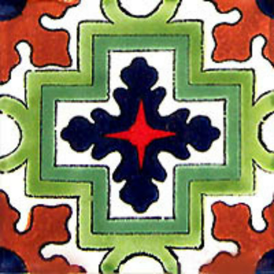 Arabic Mexican tile green cobalt