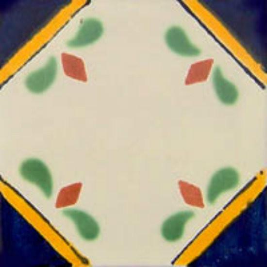 folk art Mexican tile blue green