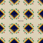 folk art Mexican tiles blue green
