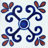 Mexican tile terracotta blue white