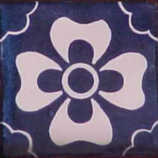 colonial Mexican tile white navy blue