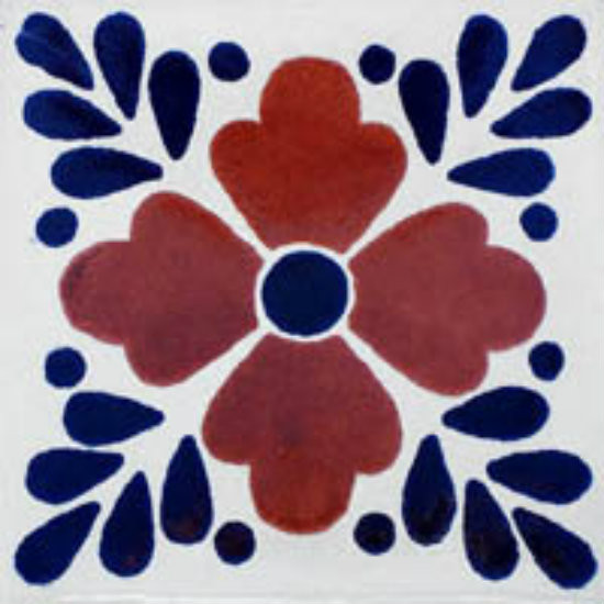 Mexican tile terracotta blue
