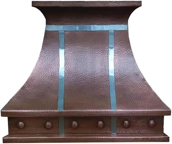 copper range hood with nickel rivets