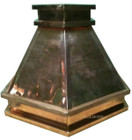 polished copper range hood fron view